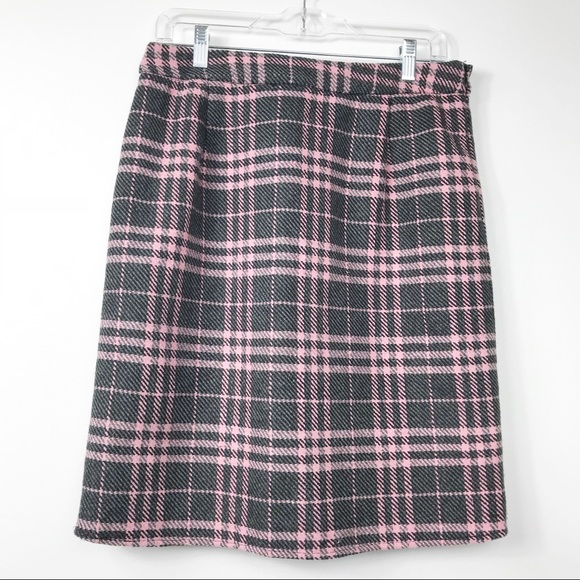 DownEast Dresses & Skirts - DownEast Grey Pink Plaid Wool Blend Pencil Skirt 8